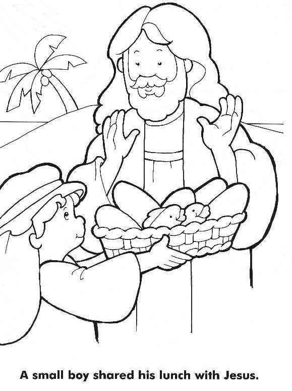 Jesus Feeds 5000 Small Boy Coloring