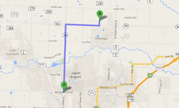 Map: West Joplin to 1st Baptist, Oronogo